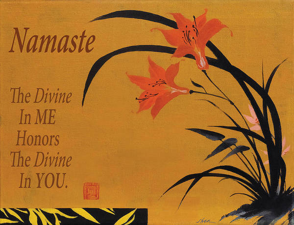 Chinese Brush Painting - Namaste by Shawn Shea