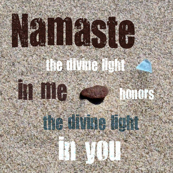 Photograph - Namaste With Beach Glass And Pebble by Michelle Calkins