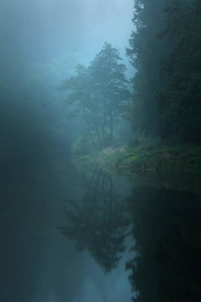 Fog Photograph - Nameless Lake by Milos Lach