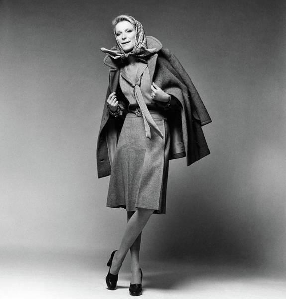 January 1st Photograph - Nan Kempner Wearing A Pea Jacket And Skirt by Francesco Scavullo
