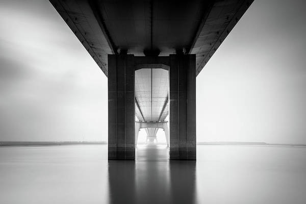 Columns Photograph - Nanjing Yangtze River Bridge by Qing Ai