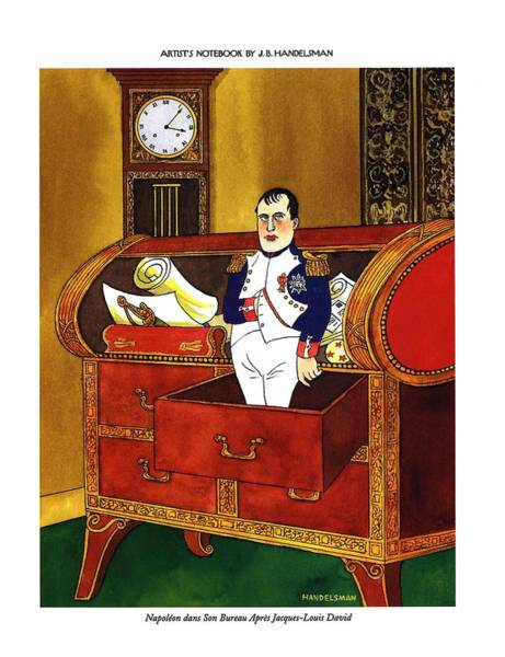 Celebrities Drawing - Napoleon Dans Son Bureau Apres Jacques-louis David by J.B. Handelsman