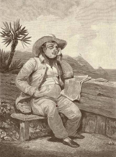 Wall Art - Drawing - Napoleon, Exiled On St Helena by Mary Evans Picture Library