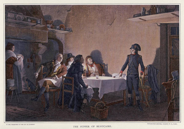 Developed Drawing - Napoleon In 1793 At 'the  Supper by Mary Evans Picture Library