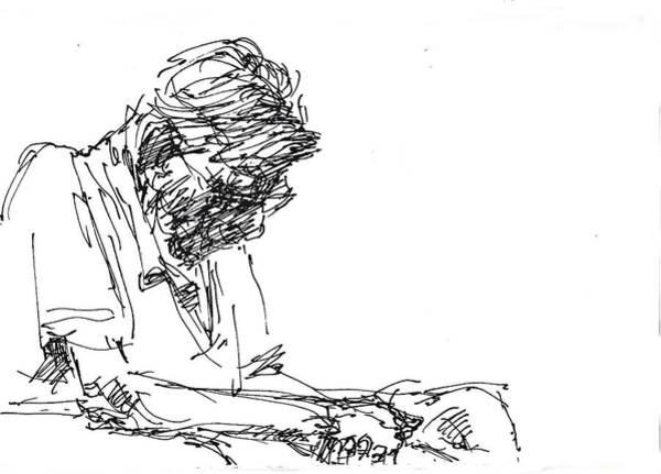 Wall Art - Drawing - Napping At Waiting Room by Ylli Haruni