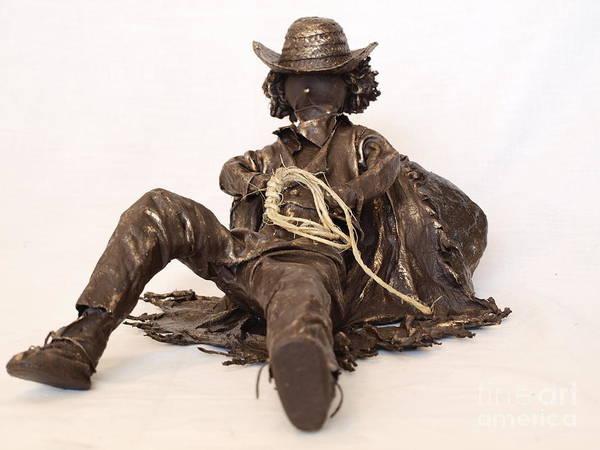 Sculpture - Napping Cowboy - 1st Photo by Vivian Martin