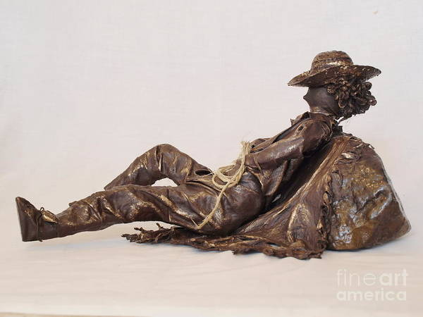 Sculpture - Napping Cowboy - 2nd Photo by Vivian Martin