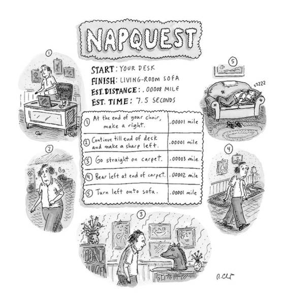 2004 Drawing - Napquest by Roz Chast