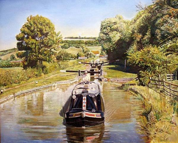 Warwickshire Photograph - Napton Top Lock, 2008 Oil On Canvas by Kevin Parrish