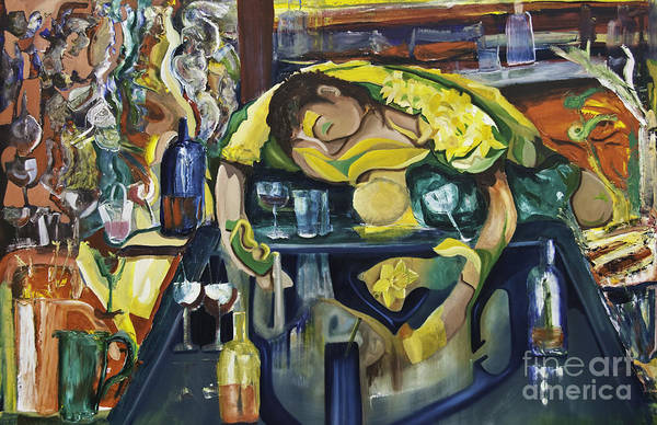 Painting - Narcisisstic Wine Bar Experience - After Caravaggio by James Lavott