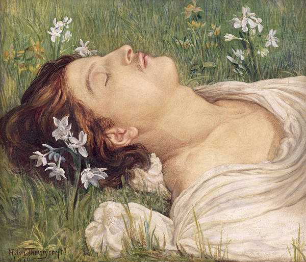 Nap Wall Art - Painting - Narcissus by Helen Thornycroft