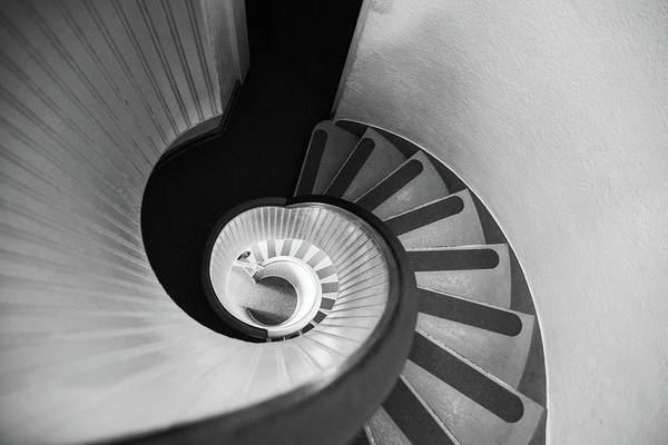 Human Hand Photograph - Narrow Circular Staircase Abstract by Art Wager