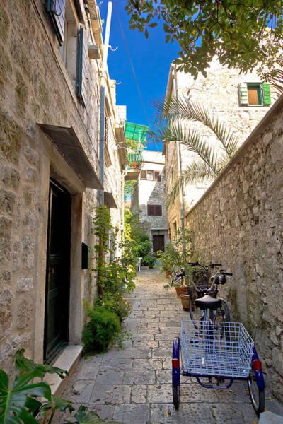 Starigrad Photograph - Narrow Mediterranean Stone Street In Stari Grad by Brch Photography