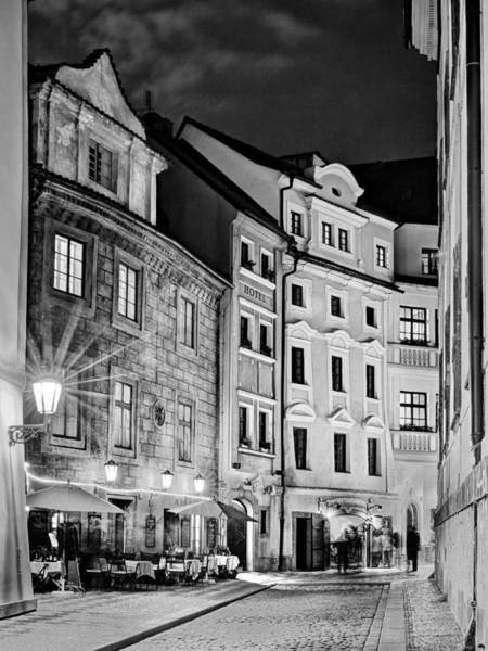 Photograph - Narrow Street At Night / Prague by Barry O Carroll