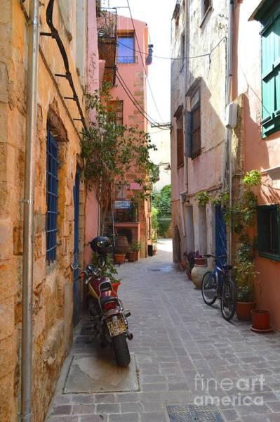 Taverna Photograph - Narrow Street In Old City Of Chania Crete Greece by Ana Maria Edulescu