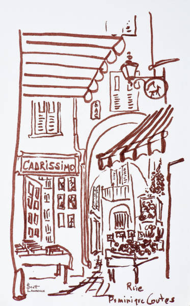 Ink Sketch Photograph - Narrow Streets Of Rue Dominique Conte by Richard Lawrence