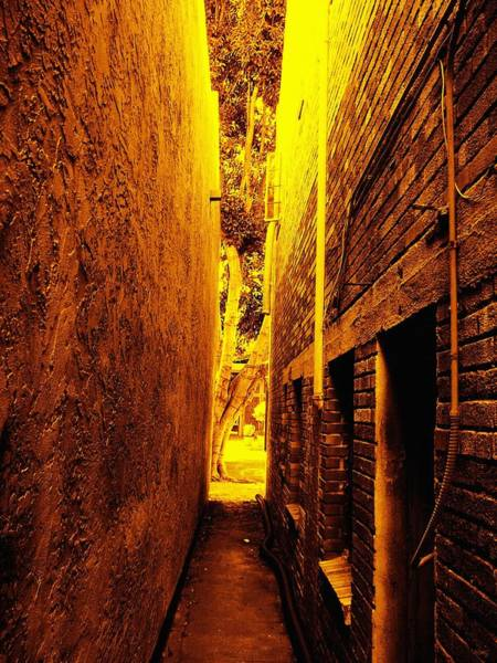 Between Photograph - Narrow Way To The Light by Glenn McCarthy Art and Photography