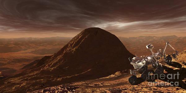 Mound Digital Art - Nasas Curiosity Rover Climbing by Steven Hobbs