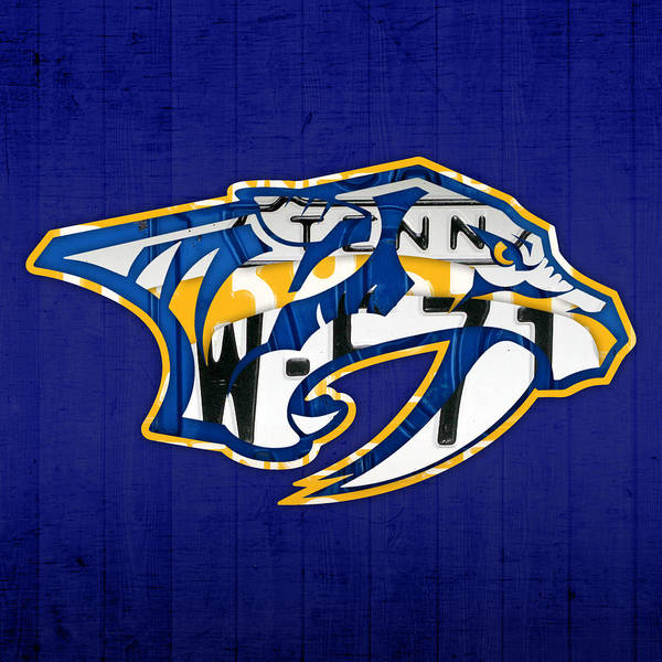 Wall Art - Mixed Media - Nashville Predators Hockey Team Retro Logo Vintage Recycled Tennessee License Plate Art by Design Turnpike