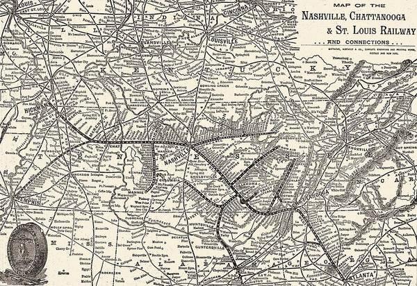 Wall Art - Mixed Media - Nashville Railway Map Vintage by Dan Sproul