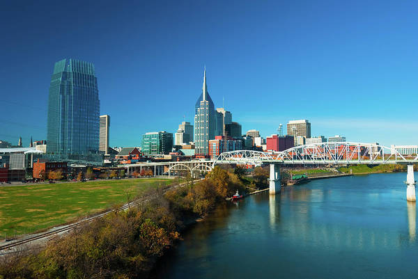 Cumberland Photograph - Nashville Skyline, River, And Bridge by Davel5957