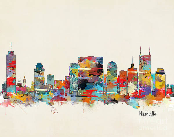 Nashville Wall Art - Painting - Nashville Tennessee Skyline by Bri Buckley