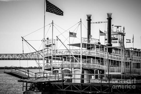 Steam Boat Photograph - Natchez Steamboat In New Orleans Black And White Picture by Paul Velgos