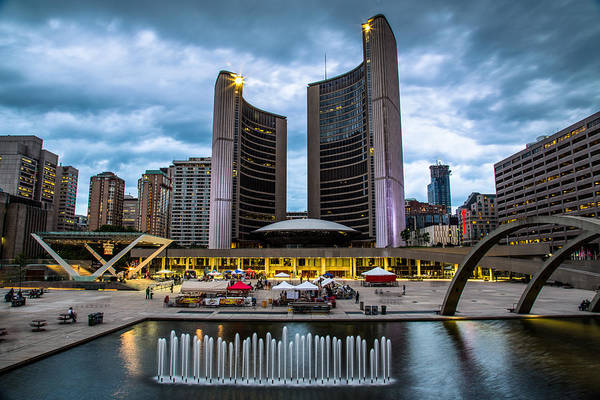Photograph - Nathan Phillips Square At Dusk by Levin Rodriguez