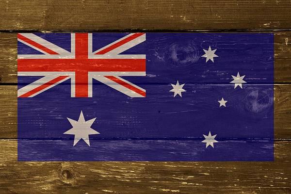 Digital Art - Australia National Flag On Wood by Movie Poster Prints
