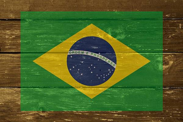Country House Digital Art - Brazil National Flag On Wood by Movie Poster Prints