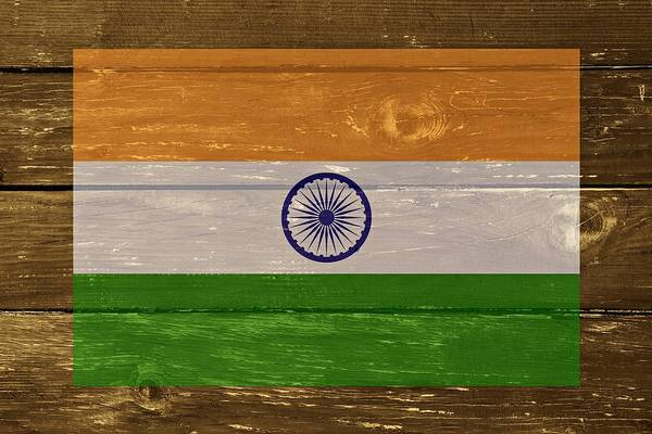 Digital Art - India National Flag On Wood by Movie Poster Prints
