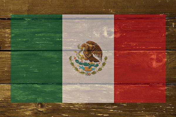 Digital Art - Mexico National Flag On Wood by Movie Poster Prints