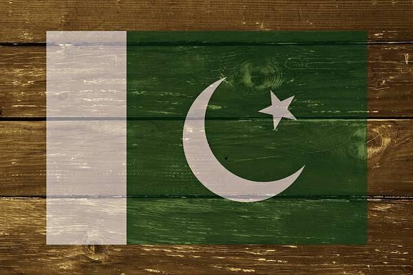 Digital Art - Pakistan National Flag On Wood by Movie Poster Prints