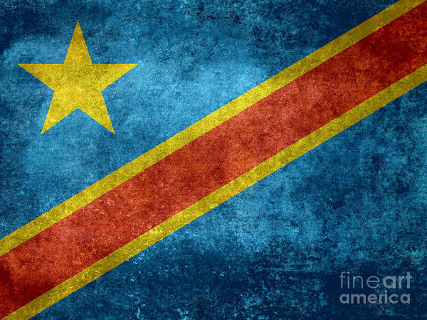 Wall Art - Digital Art - National Flag Of The Democratic Republic Of The Congo Vintage Version To Scale by Bruce Stanfield
