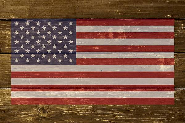 Digital Art - United States Of America National Flag On Wood by Movie Poster Prints