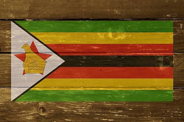 Wall Art - Digital Art - Zimbabwe National Flag On Wood by Movie Poster Prints