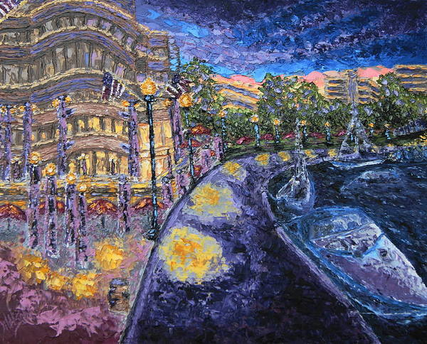 Painting - National Harbor Evening by Chrys Wilson