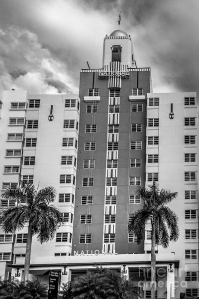 Wall Art - Photograph - National Hotel - South Beach - Miami - Florida - Black And White by Ian Monk