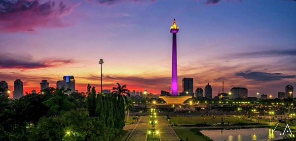 Indonesian Culture Photograph - National Monument Of Jakarta At Sunset by Reza Mauludy / Eyeem
