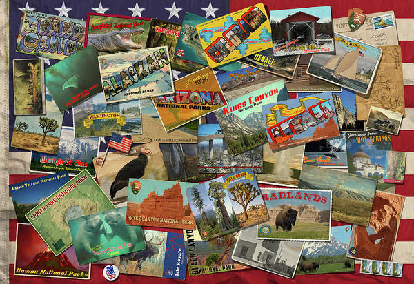 Wall Art - Drawing - National Parks Flag by MGL Meiklejohn Graphics Licensing