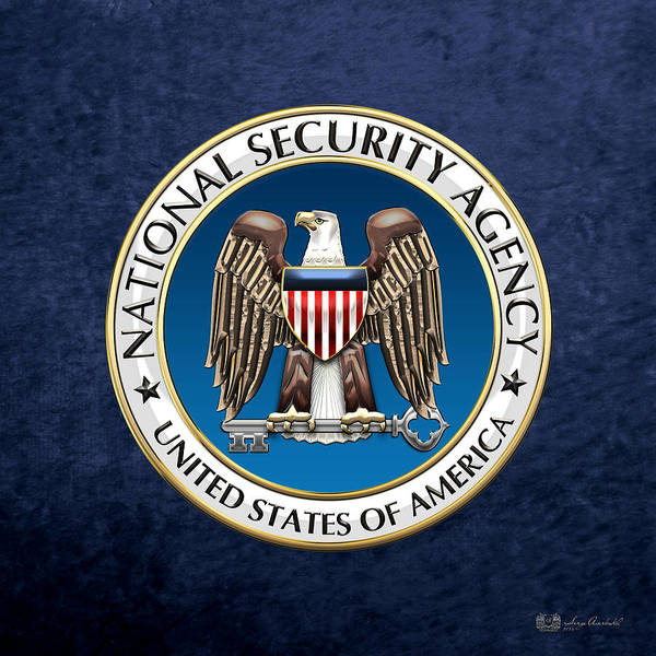 Digital Art - National Security Agency - N S A Emblem On Blue Velvet by Serge Averbukh