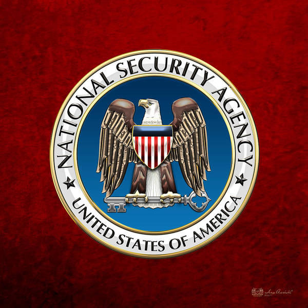 Digital Art - National Security Agency - N S A Emblem On Red Velvet by Serge Averbukh