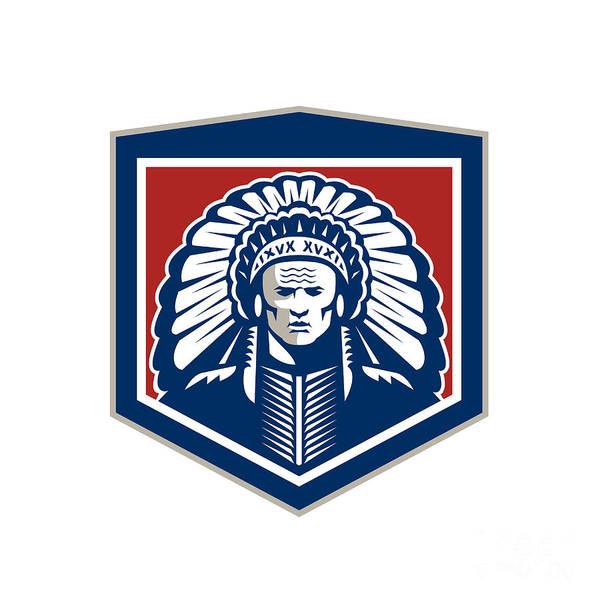 Indian Brave Digital Art - Native American Chief Shield Retro by Aloysius Patrimonio