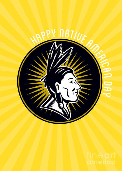 Indian Brave Digital Art - Native American Day Celebration Retro Greeting Card by Aloysius Patrimonio