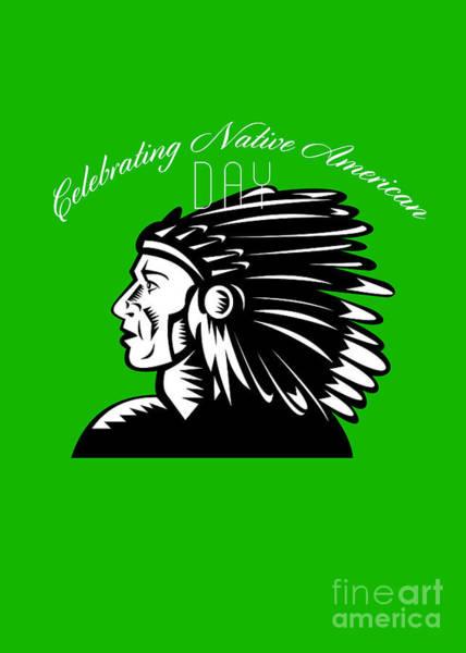 Indian Brave Digital Art - Native American Day Remembrance Retro Greeting Card by Aloysius Patrimonio