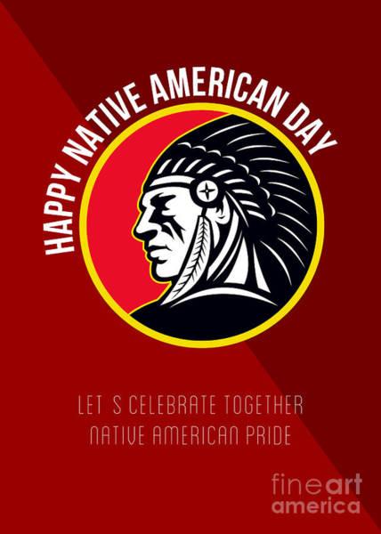 Indian Brave Digital Art - Native American Day Retro Poster Card by Aloysius Patrimonio