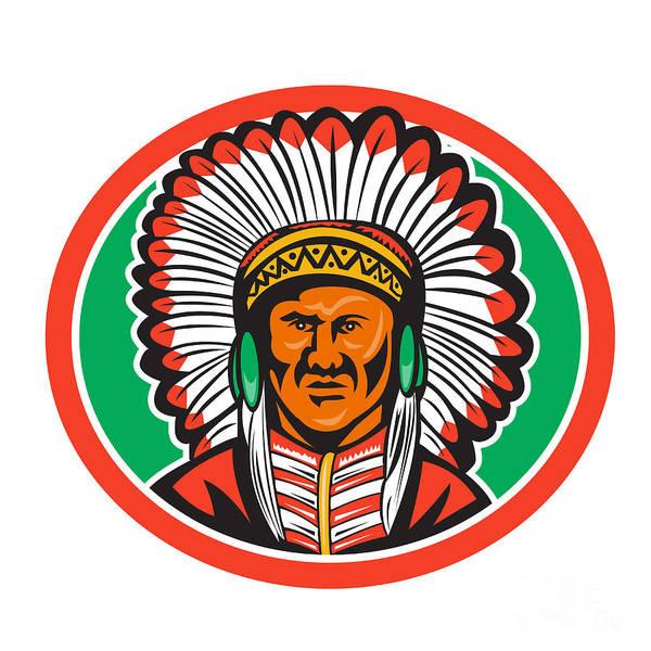Indian Brave Digital Art - Native American Indian Chief Headdress by Aloysius Patrimonio
