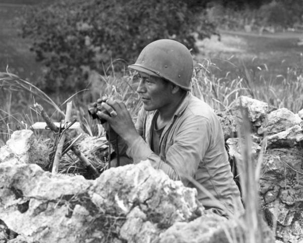 Code Talkers Photograph - Native American Marine Code Talker by Everett