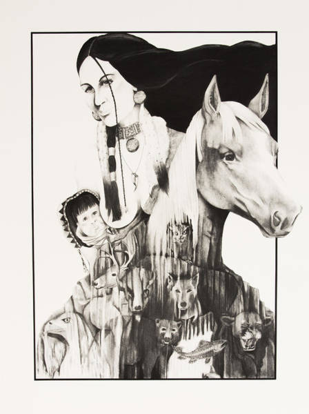 Baby Eagle Drawing - Native American Mother's Life Journey by Joe Lisowski