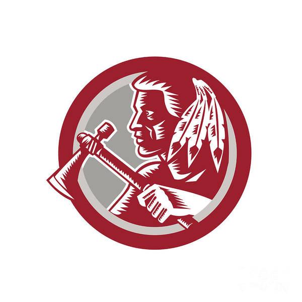Indian Brave Digital Art - Native American Tomahawk Warrior Circle by Aloysius Patrimonio